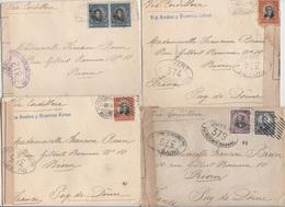 CHILI  4 LETTRES CENSUREES PAR LA CORDILLERE DES ANDES 1917 - Chile