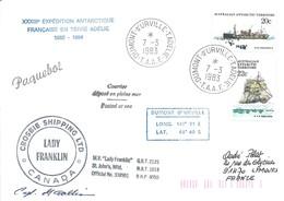 """TAAF - Dumont D'Urville-T.Adélie: Lettre """"Lady Franklin"""" Avec Timbres AAT N°40 Et 41 Voiliers  - 07/03/1983 - Lettres & Documents"""