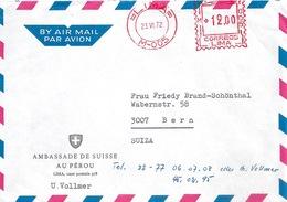 """Airmail Brief  """"Ambassade De Suisse Au Pérou""""              1972 - Peru"""