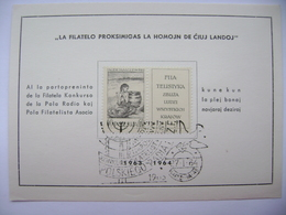 Commemorative Card Esperanto 1963-1964, Malczewski 60 Gr, Postmark Konkurs Filatelistycznych...polskiego Radia - Esperanto