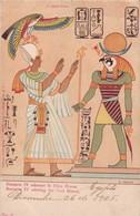 RAMSETE IV ADORANT LE DIEU HORUS. S POLLAROLI. CPA VOYAGEE CIRCA 1905 - BLEUP - Egitto