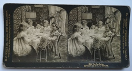PHOTO STEREOSCOPIC STEREO CHILDREN KINDER THE TEA PARTY FASHION 1902. - Stereo-Photographie