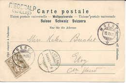 1900 Cachet Linéaire RIEDERALP (WALLIS) + MOEREL, Carte Postale Illustrée Aletschgletscher, VALAIS WALLIS - Poststempel