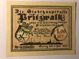 Allemagne Notgeld Pritzwalk 1 Mark - Collections
