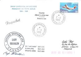 """TAAF - Dumont D'Urville-T.Adélie: Lettre """"Lady Franklin"""" Avec Timbre Canada N°781 De Havilland Dash 7 - 07/03/1983 - Lettres & Documents"""