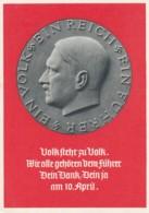 Deutsches Reich Propaganda Postkarte 1938 Ein Volk Ein Reich Ein Fuhrer - Briefe U. Dokumente