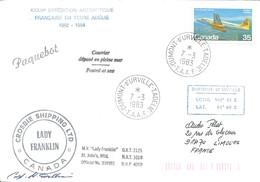 """TAAF - Dumont D'Urville-T.Adélie: Lettre """"Lady Franklin"""" Avec Timbre Canada N°782 Avro Jetliner - 07/03/1983 - Lettres & Documents"""