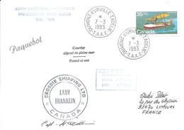 """TAAF - Dumont D'Urville-T.Adélie: Lettre """"Lady Franklin"""" Avec Timbre Canada N°723 Vickers Vedette - 07/03/1983 - Lettres & Documents"""