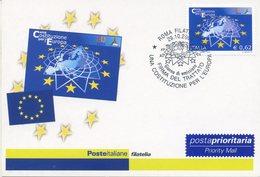 ITALIA - FDC MAXIMUM CARD 2004 - COSTITUZIONE EUROPEA - ANNULLO SPECIALE - Cartoline Maximum