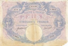 Billet 50 F Bleu Et Rose Du 10-9-1912 FAY 14.25 Alph. Y.4412 - 50 F 1889-1927 ''Bleu Et Rose''