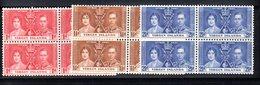 QUS - VIRGIN VERGINI 1937 , Yvert Serie  N.  71/73 In Belle Quartine  ***  MNH - British Virgin Islands