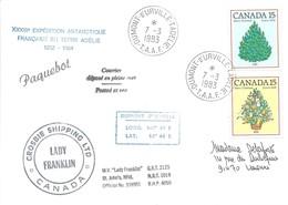 """TAAF - Dumont D'Urville-T.Adélie: Lettre """"Lady Franklin"""" Avec Timbres Canada N°784 Et 785 - 07/03/1983 - Lettres & Documents"""