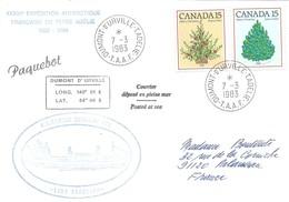 """TAAF - Dumont D'Urville-T.Adélie: Lettre """"Lady Franklin"""" Avec Timbres Canada N°783 Et 785 - 07/03/1983 - Lettres & Documents"""