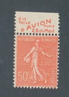 FRANCE - N°YT 199a) NEUF** SANS CHARNIERE AVEC PUBLICITE A LA TOILE D AVION PARIS RUE DU MAIL - COTE YT : 6€10 - 1924/32 - Advertising