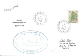 """TAAF - Dumont D'Urville-T.Adélie: Lettre """"Lady Franklin"""" Avec Timbre Canada N°698 Pin Blanc - 07/03/1983 - Lettres & Documents"""