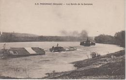 CPA Podensac - Les Bords De La Garonne - Train De Bateaux Avec Remorqueur à Roues à Aubes - Francia