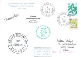 """TAAF - Dumont D'Urville-T.Adélie: Lettre """"Lady Franklin"""" Avec Timbres Canada N°630 Et 638 - 07/03/1983 - Lettres & Documents"""