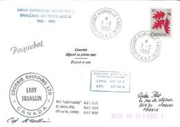 """TAAF - Dumont D'Urville-T.Adélie: Lettre """"Lady Franklin"""" Avec Timbre Canada N°639 Erable à Sucre - 07/03/1983 - Lettres & Documents"""