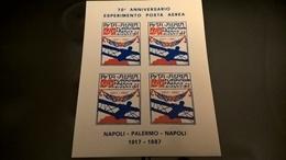 ERINNOFILI VIGNETTE CINDERELLA - 70° ESPERIMENTO POSTA AEREA PALERMO 1917 NON DENTELLATI - Erinnofilia