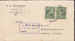 Ecuador G. L. CHANANGE, GUAYAQUIL 1927 Cover Letra HAMBURG Germany 2x Garcia Moreno - Ecuador