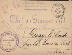 Guerre 14 Cachet Dépôt Des Prisonniers De Guerre St Aubin Epinay Par Darnetal Pour Détachement Gisay La Coudre FM - Marcophilie (Lettres)