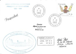 """TAAF - Dumont D'Urville-T.Adélie: Lettre """"Lady Franklin"""" Avec Timbre Canada N°748 Estampe Inuit - 07/03/1983 - Lettres & Documents"""