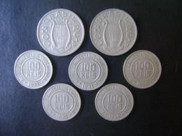 BRAZIL - 7 NICKEL COINS (5X 100 REIS +  2X 300 REIS), DIFFERENT DATES 1920 / 1937 - Brésil