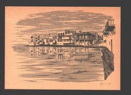 Mykonos - Little Venice - Drawn By Renos Joannides - 1978 - 14 X 10 Cm - Grèce