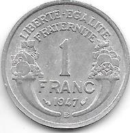 France 1 Franc 1947 B  Km 885a.2  Xf - H. 1 Franc
