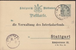 WÜRTTEMBERG DP 28 Mit Schwarzem Zudruck: Die Verwaltung Des Interkalarfonds, Stuttgart, Gestempelt: Wangen 2.MRZ 1892 - Wuerttemberg