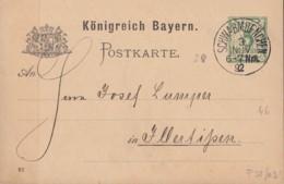 BAYERN  P 38/03, Gestempelt: Schwabmünchen 3.NOV 1892, Rückseitig Eindruck: Quittung Der Fa. C. J. Holzhey - Beieren