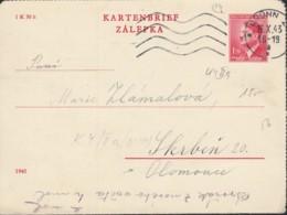 BÖHMEN Und MÄHREN  K 4 II A, Kartenbrief Ohne Rand, Gestempelt: Brünn 16.X.1943 - Cartas
