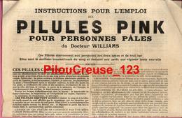"""Publicité - PILULES PINK - """"Instructions Pour L'Emploi Pour Personnes Pâles Dt WILLIAMS - 4 Scans - 1918 - Publicités"""