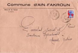LSC - Entête Commune D'AIN - FAKROUN Et Cachet AIN-FAKROUN Sur Timbre - Algeria (1924-1962)