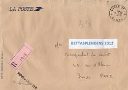 LSC Recommandé 1990 - Ambulants -Griffe Et Cachet Convoyeur PARIS à LILLE 2è B - Marcophilie (Lettres)
