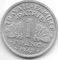France 1 Franc 1942  Km 902.1  Xf - Francia