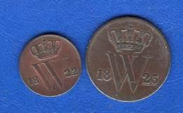 Pays  Bas  1/2 Cent  1822 B  +cent  1823 - [ 3] 1815-… : Royaume Des Pays-Bas