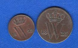 Pays  Bas  1/2 Cent  1822 B  +cent  1823 - 1815-1840 : Willem I