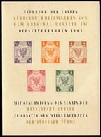 Germany Lubeck 1961 / Neudruck Block Der Ersten Lubecker Briefmarken - Luebeck