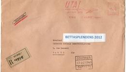 LSC Recommandé BOURGET 12.10.65 - EMA - UTA Jetliner DC8 - LE BOURGET - Postmark Collection (Covers)