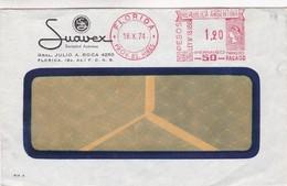 SUAVEX- COMMERCIAL ENVELOPPE CIRCULEE 1974 FLORIDA GRAN BUENOS AIRES MACHINE D'AFFRANCHISEMENT - BLEUP - Argentina