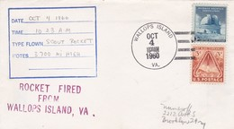 ROCKET FIRED FROM WALLOPS ISLANDS YEAR 1960 SPECIAL COVER - BLEUP - Covers & Documents
