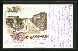 Lithographie Hannover, Cafe Kröpcke Und Blick In Die Georgstrasse, Stempel Private Stadtpost Mercur - Stamps (pictures)