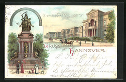 Lithographie Hannover, Am Schiffgraben, Krieger-Denkmal, Private Stadtpost - Stamps (pictures)