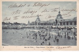 MAR DEL PLATA. PLAYA BRISTOL. LOS BAÑOS. CPA  VOYAGEE 1929 TALLERES PEUSER VINTAGE VIEW PLAGE BEACH - BLEUP - Argentinië