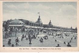 MAR DEL PLATA. RAMBLA Y PLAYA BRISTOL A LA HORA DEL BAÑO. TALLERES PEUSER VINTAGE VIEW PLAGE BEACH CIRCULEE 1929 - BLEUP - Argentinië