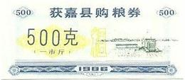 China (CUPONES) 500 Gramos 1986 Huojia (Henan) Cn 41 H.a.0500 Azul UNC - China