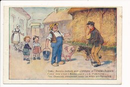 Carte  Publicitaire  Sur Les Sels De  Potasse D' Alsace ( Cochon / Ferme Paysans ) Illustrateur Non Signé - Publicité