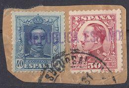 ESPAÑA - SPAGNA - SPAIN - ESPAGNE- Due Valori Usati Su Frammento Di Busta: Yvert 282 E 409. - 1889-1931 Regno: Alfonso XIII