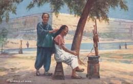 China, 'Chinese Life' Tuck Series #9683 Barber At Work, C1900s Vintage Postcard - China